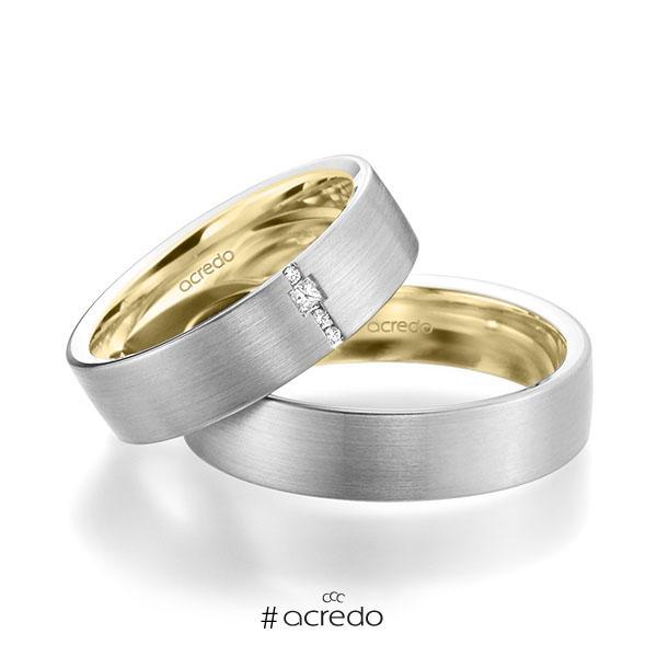 Paar bicolor Trauringe/Eheringe in außen Weißgold 585 , innen Gelbgold 585 mit zus. 0,045 ct. Brillant & Prinzess-Diamant tw, si von acredo