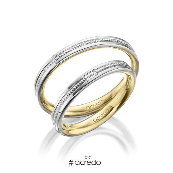 Paar bicolor Trauringe/Eheringe in außen Weißgold 585 , innen Gelbgold 585 mit zus. 0,05 ct. Baguette-Diamant tw, vs von acredo