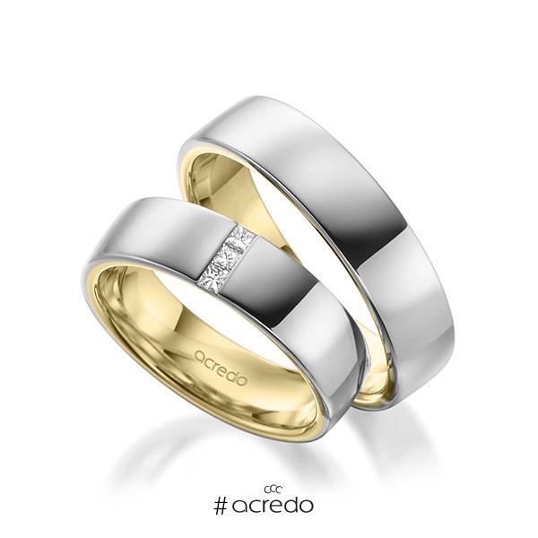 Paar bicolor Trauringe/Eheringe in außen Weißgold 585 , innen Gelbgold 585 mit zus. 0,09 ct. Prinzess-Diamant tw, si von acredo