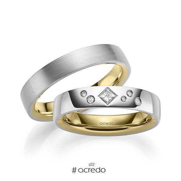 Paar bicolor Trauringe/Eheringe in außen Weißgold 585 , innen Gelbgold 585 mit zus. 0,146 ct. Brillant & Prinzess-Diamant tw, si von acredo