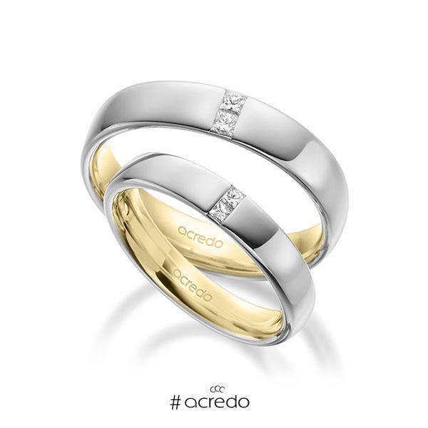 Paar bicolor Trauringe/Eheringe in außen Weißgold 585 , innen Gelbgold 585 mit zus. 0,18 ct. Prinzess-Diamant tw, si von acredo