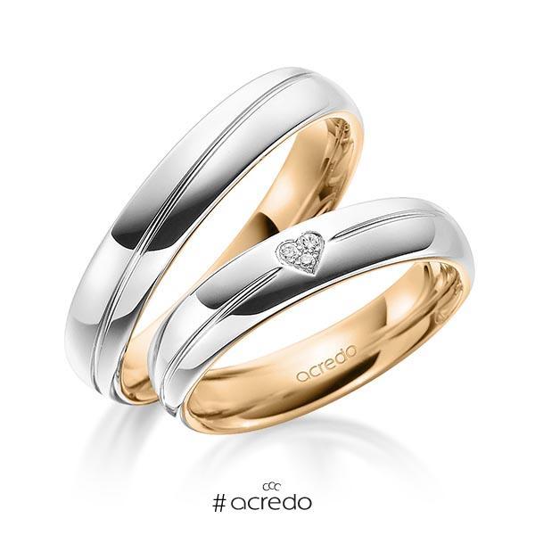 Paar bicolor Trauringe/Eheringe in außen Weißgold 585 , innen Roségold 585 mit zus. 0,021 ct. Brillant tw, si von acredo
