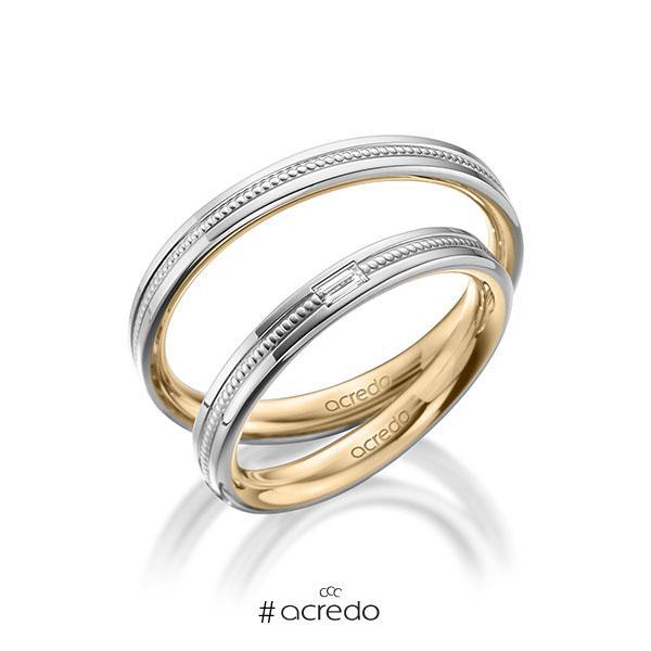 Paar bicolor Trauringe/Eheringe in außen Weißgold 585 , innen Roségold 585 mit zus. 0,05 ct. Baguette-Diamant tw, vs von acredo