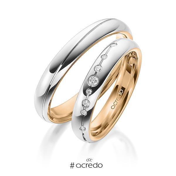 Paar bicolor Trauringe/Eheringe in außen Weißgold 585 , innen Roségold 585 mit zus. 0,08 ct. Brillant tw, si von acredo