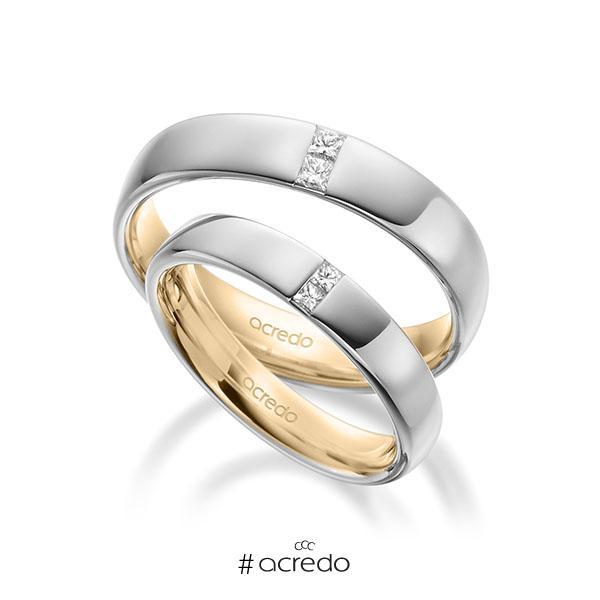 Paar bicolor Trauringe/Eheringe in außen Weißgold 585 , innen Roségold 585 mit zus. 0,18 ct. Prinzess-Diamant tw, si von acredo