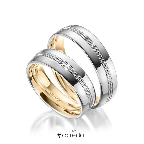 Paar bicolor Trauringe/Eheringe in außen Weißgold 585 , innen Roségold 585 mit zus. 0,1 ct. Baguette-Diamant tw, vs von acredo
