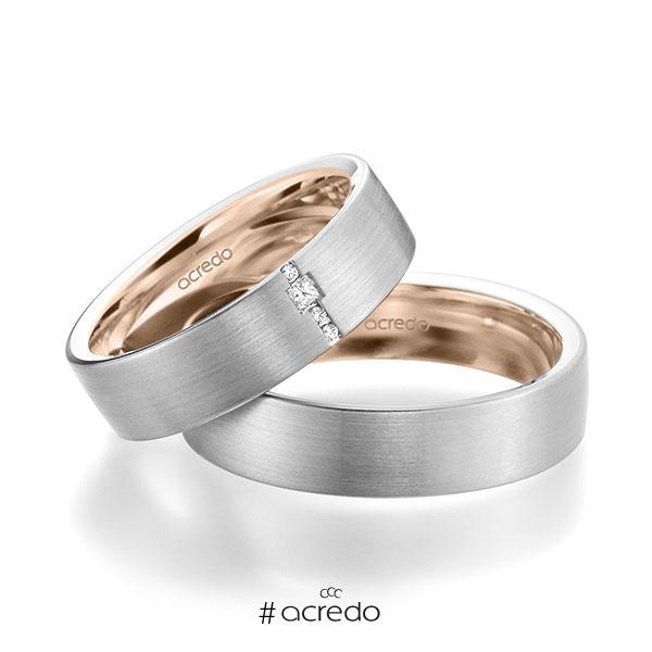 Paar bicolor Trauringe/Eheringe in außen Weißgold 585 , innen Rotgold 585 mit zus. 0,045 ct. Brillant & Prinzess-Diamant tw, si von acredo
