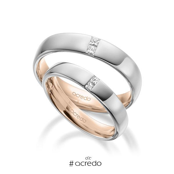 Paar bicolor Trauringe/Eheringe in außen Weißgold 585 , innen Rotgold 585 mit zus. 0,18 ct. Prinzess-Diamant tw, si von acredo