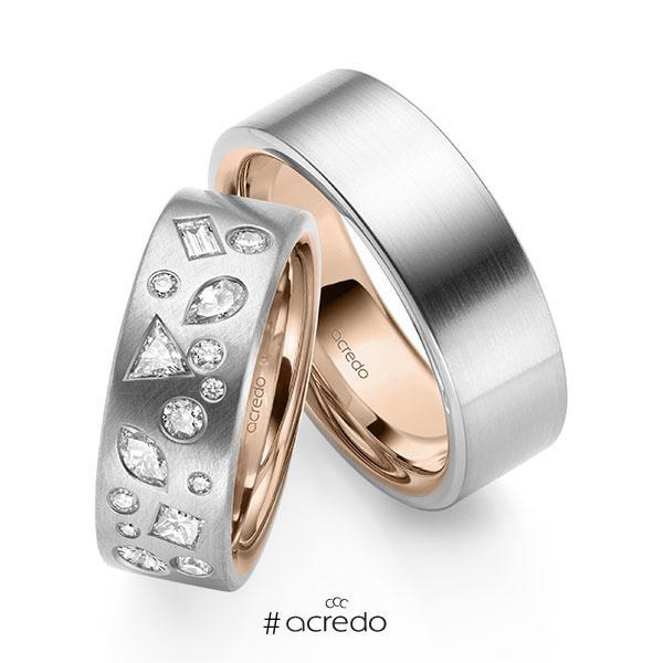 Paar bicolor Trauringe/Eheringe in außen Weißgold 585 , innen Rotgold 585 mit zus. 0,9 ct. Prinzess-Diamant & Baguette-Diamant & Brillant tw, si tw, vs von acredo
