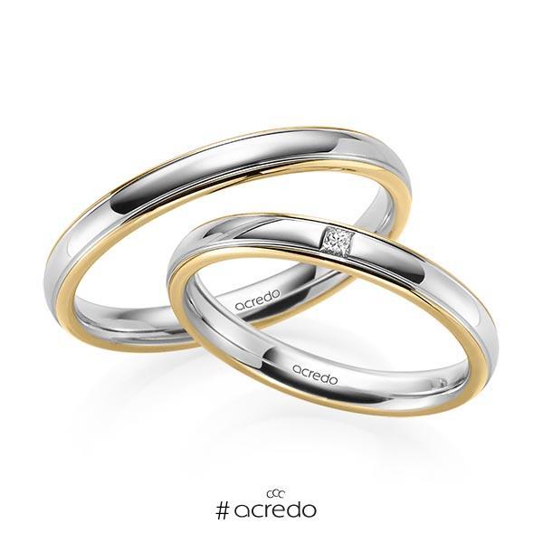 Paar bicolor Trauringe/Eheringe in Gelbgold 585 Graugold 585 mit zus. 0,03 ct. Prinzess-Diamant tw, si von acredo