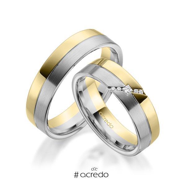 Paar bicolor Trauringe/Eheringe in Gelbgold 585 Graugold 585 mit zus. 0,05 ct. Prinzess-Diamant & Brillant tw, si von acredo