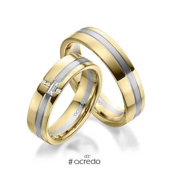 Paar bicolor Trauringe/Eheringe in Gelbgold 585 Graugold 585 mit zus. 0,074 ct. Baguette-Diamant & Brillant tw, vs tw, si von acredo