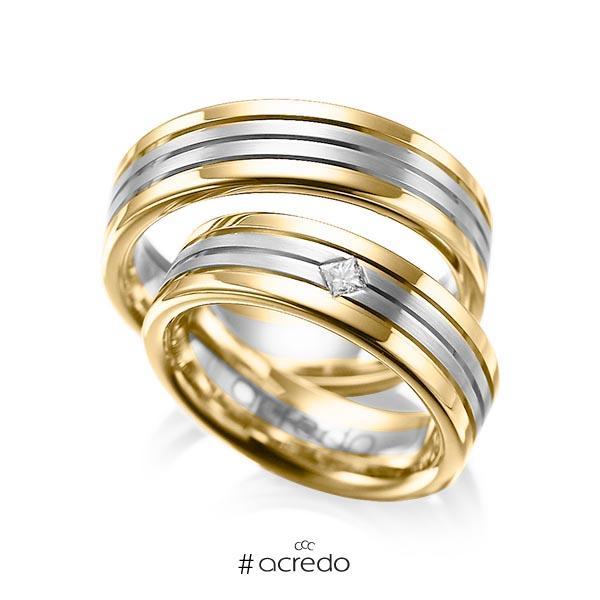 Paar bicolor Trauringe/Eheringe in Gelbgold 585 Graugold 585 mit zus. 0,08 ct. Prinzess-Diamant tw, si von acredo