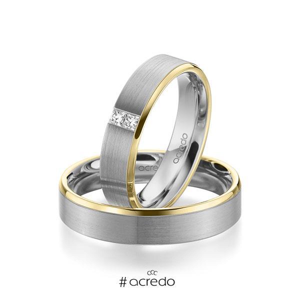 Paar bicolor Trauringe/Eheringe in Gelbgold 585 Graugold 585 mit zus. 0,1 ct. Prinzess-Diamant tw, si von acredo
