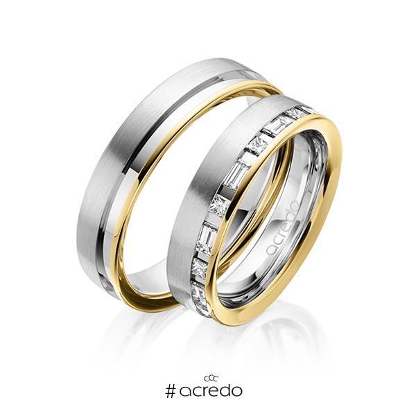 Paar bicolor Trauringe/Eheringe in Gelbgold 585 Graugold 585 mit zus. 0,9 ct. Prinzess-Diamant & Baguette-Diamant tw, si tw, vs von acredo