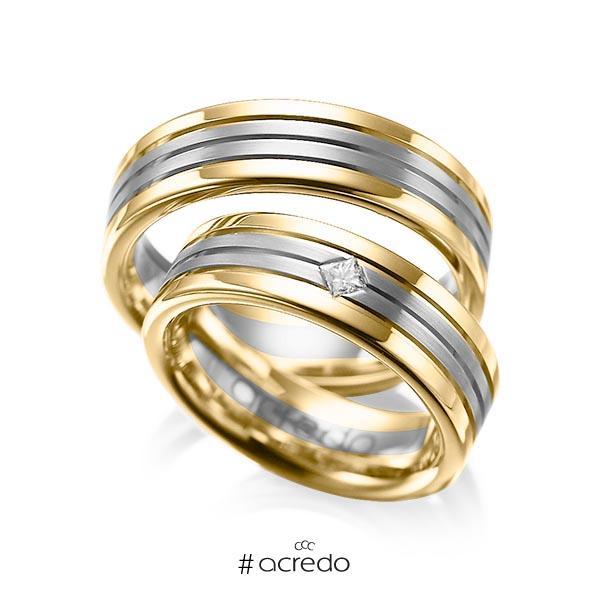 Paar bicolor Trauringe/Eheringe in Gelbgold 585 Graugold dunkel 585 mit zus. 0,08 ct. Prinzess-Diamant tw, si von acredo
