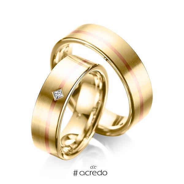 Paar bicolor Trauringe/Eheringe in Gelbgold 585 Rotgold 585 mit zus. 0,03 ct. Prinzess-Diamant tw, si von acredo