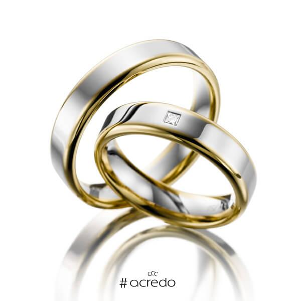 Paar bicolor Trauringe/Eheringe in Gelbgold 585 Weißgold 585 mit zus. 0,03 ct. Prinzess-Diamant tw, si von acredo