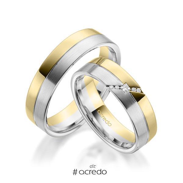 Paar bicolor Trauringe/Eheringe in Gelbgold 585 Weißgold 585 mit zus. 0,05 ct. Prinzess-Diamant & Brillant tw, si von acredo