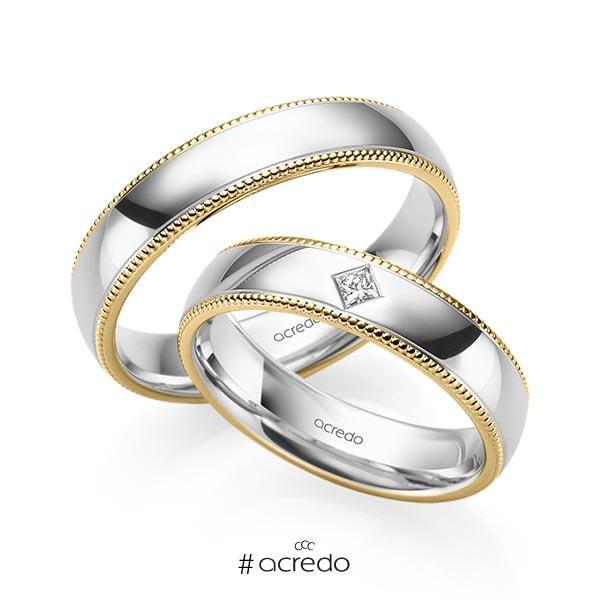 Paar bicolor Trauringe/Eheringe in Gelbgold 585 Weißgold 585 mit zus. 0,05 ct. Prinzess-Diamant tw, si von acredo