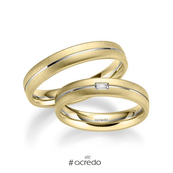 Paar bicolor Trauringe/Eheringe in Gelbgold 585 Weißgold 585 mit zus. 0,06 ct. Baguette-Diamant tw, vs von acredo