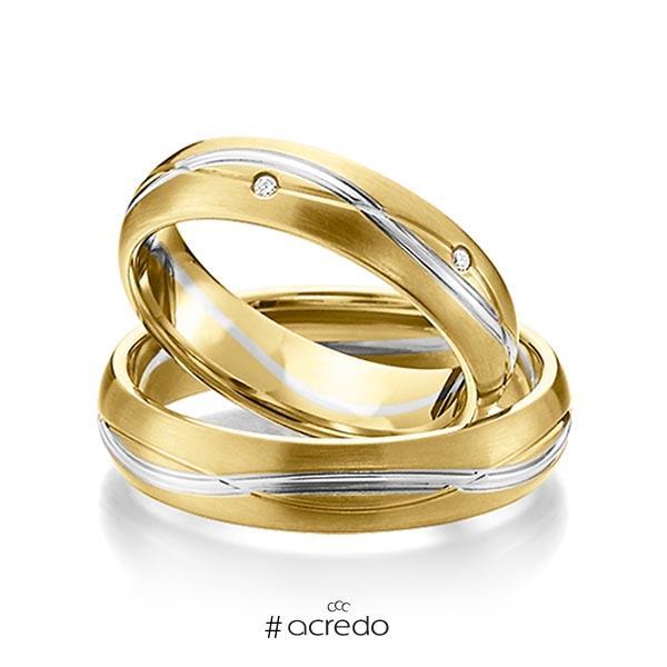 Paar bicolor Trauringe/Eheringe in Gelbgold 585 Weißgold 585 mit zus. 0,06 ct. Brillant tw, si von acredo