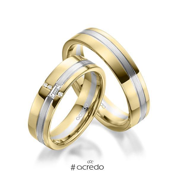 Paar bicolor Trauringe/Eheringe in Gelbgold 585 Weißgold 585 mit zus. 0,074 ct. Baguette-Diamant & Brillant tw, vs tw, si von acredo