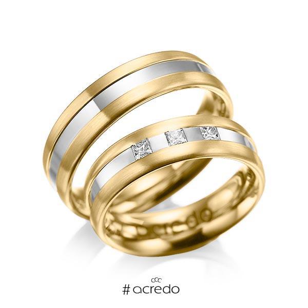 Paar bicolor Trauringe/Eheringe in Gelbgold 585 Weißgold 585 mit zus. 0,18 ct. Prinzess-Diamant tw, si von acredo