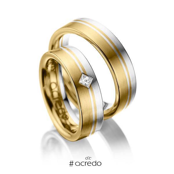 Paar bicolor Trauringe/Eheringe in Gelbgold 585 Weißgold 585 mit zus. 0,1 ct. Prinzess-Diamant tw, si von acredo
