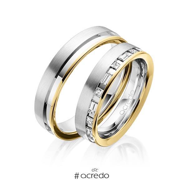 Paar bicolor Trauringe/Eheringe in Gelbgold 585 Weißgold 585 mit zus. 0,9 ct. Prinzess-Diamant & Baguette-Diamant tw, si tw, vs von acredo
