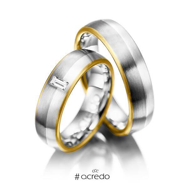 Paar bicolor Trauringe/Eheringe in Gelbgold 750 Graugold 750 Palladium 950 mit zus. 0,1 ct. Baguette-Diamant tw, vs von acredo