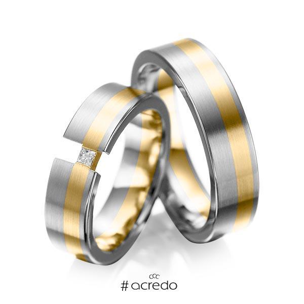 Paar bicolor Trauringe/Eheringe in Graugold 585 Gelbgold 585 mit zus. 0,05 ct. Prinzess-Diamant tw, si von acredo