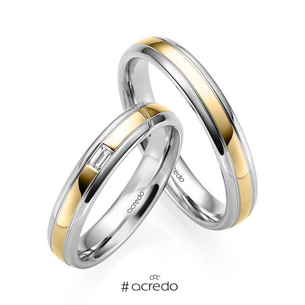 Paar bicolor Trauringe/Eheringe in Graugold 585 Gelbgold 585 mit zus. 0,06 ct. Baguette-Diamant tw, vs von acredo