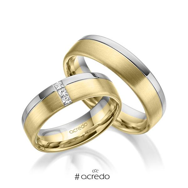 Paar bicolor Trauringe/Eheringe in Graugold 585 Gelbgold 585 mit zus. 0,12 ct. Prinzess-Diamant tw, si von acredo