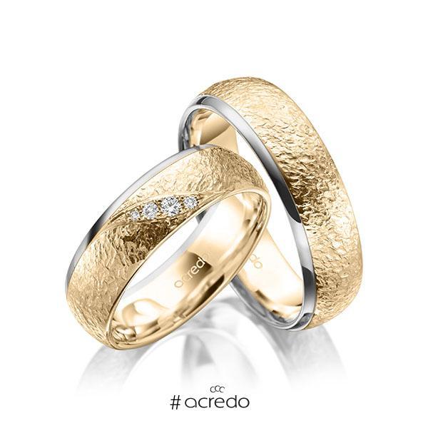 Paar bicolor Trauringe/Eheringe in Graugold 585 Roségold 585 , crushed Struktur mit zus. 0,053 ct. Brillant tw, si von acredo