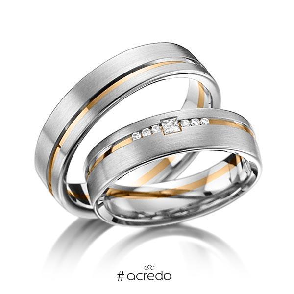 Paar bicolor Trauringe/Eheringe in Graugold 585 Roségold 585 mit zus. 0,098 ct. Brillant & Prinzess-Diamant tw, si von acredo