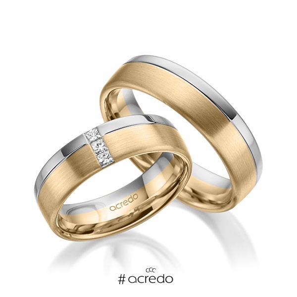 Paar bicolor Trauringe/Eheringe in Graugold 585 Roségold 585 mit zus. 0,12 ct. Prinzess-Diamant tw, si von acredo