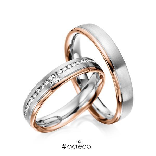 Paar bicolor Trauringe/Eheringe in Graugold 585 Rotgold 585 mit zus. 0,32 ct. Brillant & Prinzess-Diamant tw, si von acredo