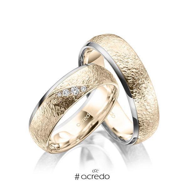Paar bicolor Trauringe/Eheringe in Graugold 585 Signature Gold 585 , crushed Struktur mit zus. 0,053 ct. Brillant tw, si von acredo