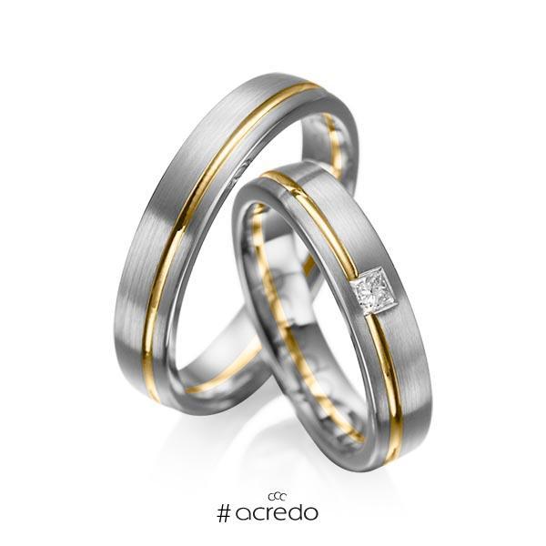 Paar bicolor Trauringe/Eheringe in Graugold dunkel 585 Gelbgold 585 mit zus. 0,08 ct. Prinzess-Diamant tw, si von acredo