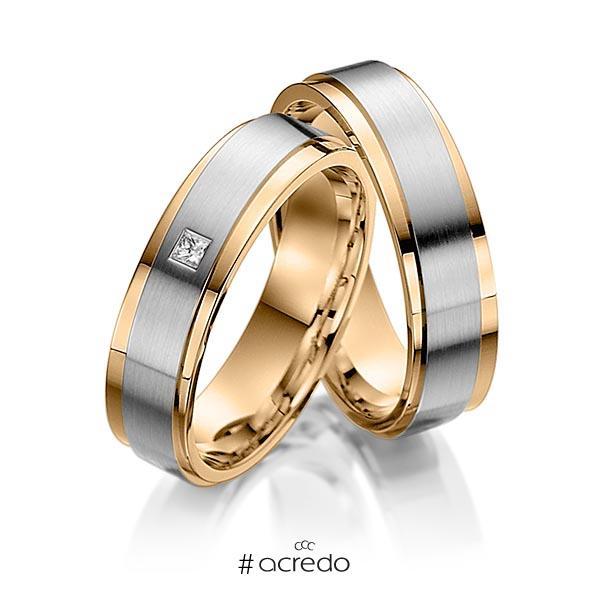 Paar bicolor Trauringe/Eheringe in Innen Roségold 585 , außen Roségold 585 Graugold 585 mit zus. 0,03 ct. Prinzess-Diamant tw, vs von acredo