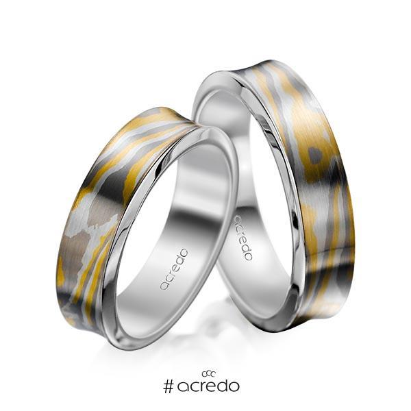 Paar bicolor Trauringe/Eheringe in Mokume Gane Gelbgold 916, Silber 925, Palladium 500 Basis-Ring Palladium-Silber 800- von acredo