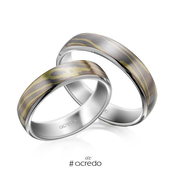 Paar bicolor Trauringe/Eheringe in Mokume Gane Grüngold 750, Graugold 585 Basis-Ring Palladium-Silber 800- von acredo