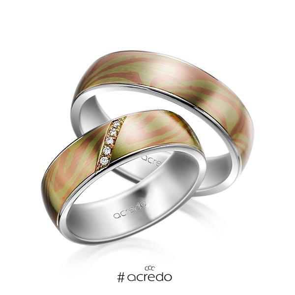 Paar bicolor Trauringe/Eheringe in Mokume Gane Grüngold 750, Rotgold 585 Basis-Ring Palladium-Silber 800- mit zus. 0,025 ct. Brillant tw, si von acredo