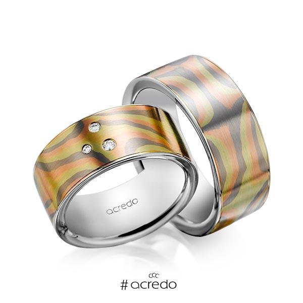 Paar bicolor Trauringe/Eheringe in Mokume Gane Grüngold 750, Rotgold 585, Graugold 585 Basis-Ring Palladium-Silber 800- mit zus. 0,045 ct. Brillant tw, si von acredo
