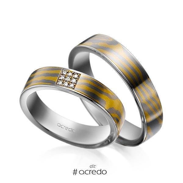 Paar bicolor Trauringe/Eheringe in Mokume Gane Palladium 500, Gelbgold 916 Basis-Ring Palladium-Silber 800- mit zus. 0,045 ct. Brillant tw, si von acredo