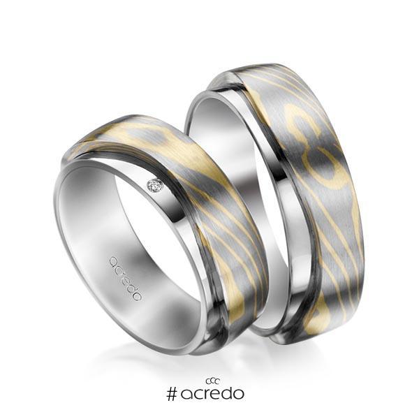 Paar bicolor Trauringe/Eheringe in Palladium-Silber 800- Graugold 585, Grüngold 750 mit zus. 0,03 ct. Brillant tw, si von acredo