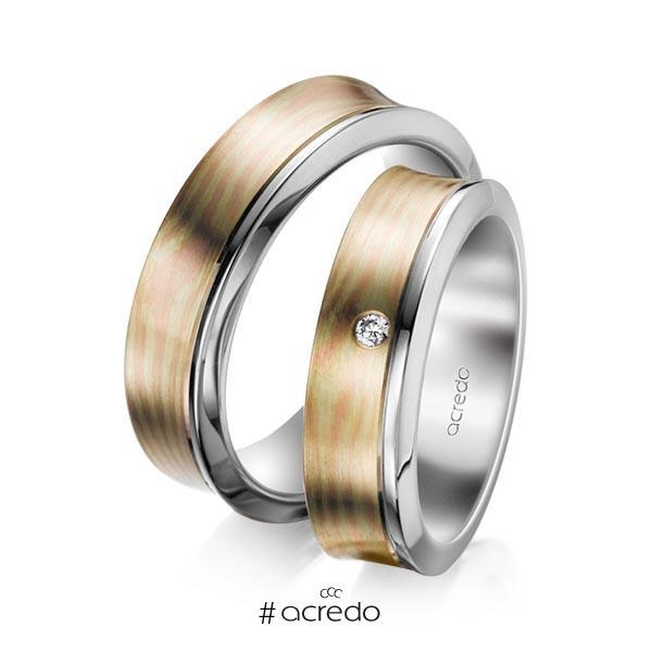 Paar bicolor Trauringe/Eheringe in Palladium-Silber 800- Rotgold 585, Grüngold 750 mit zus. 0,03 ct. Brillant tw, si von acredo