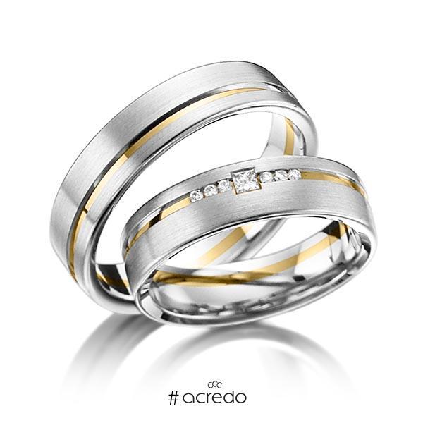 Paar bicolor Trauringe/Eheringe in Platin 950 Gelbgold 750 mit zus. 0,098 ct. Brillant & Prinzess-Diamant tw, si von acredo