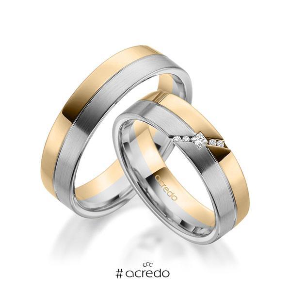 Paar bicolor Trauringe/Eheringe in Roségold 585 Graugold 585 mit zus. 0,05 ct. Prinzess-Diamant & Brillant tw, si von acredo